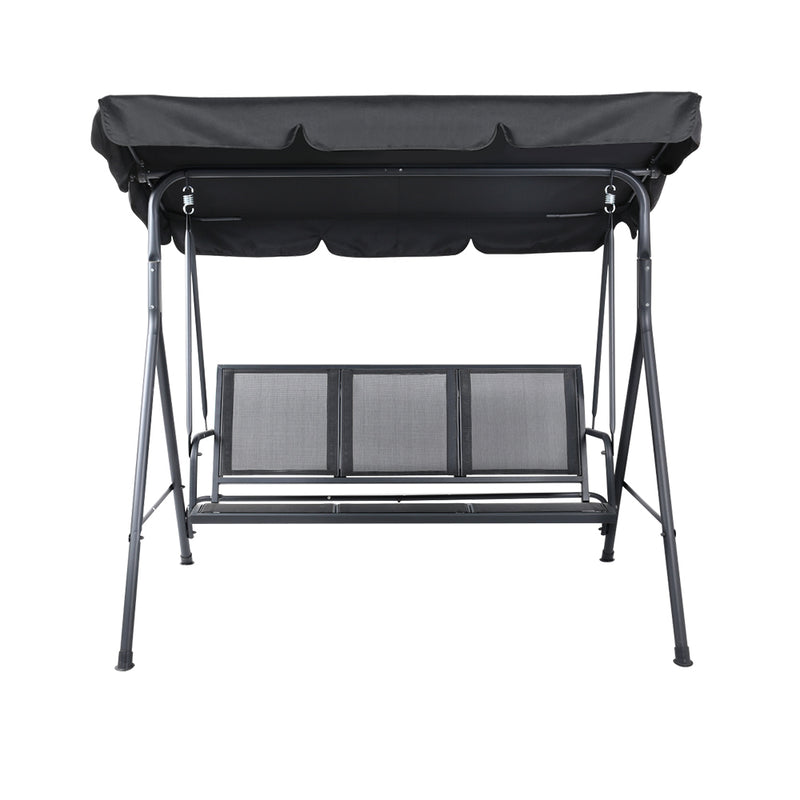 3 Seater Outdoor Swing Chair with Canopy-BLACK-FREE SHIPPING