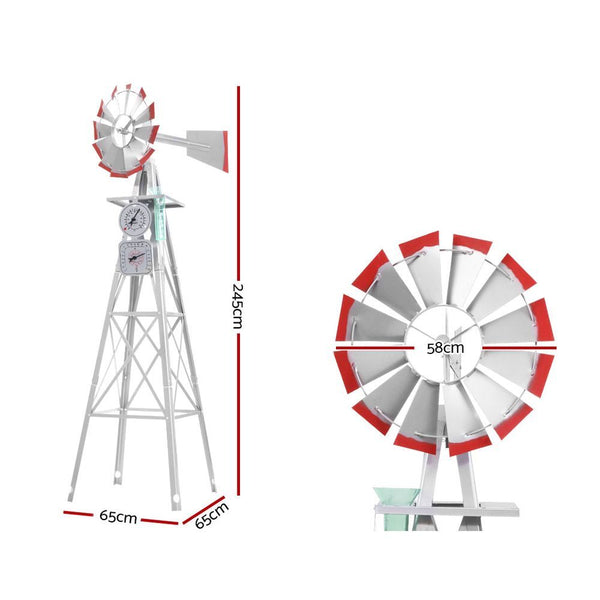 Garden Windmill 8FT 245cm Metal Ornaments Outdoor Decor Ornamental Wind Mill-FREE SHIPPING