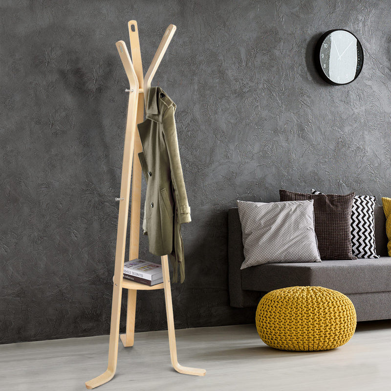 165cm High Wooden Coat Hanger-Beige-FREE SHIPPING