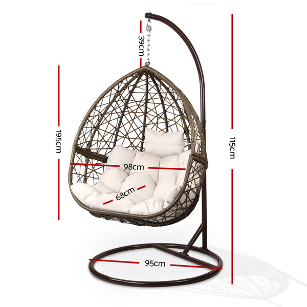 Outdoor Hanging Swing Chair-Brown-FREE SHIPPING