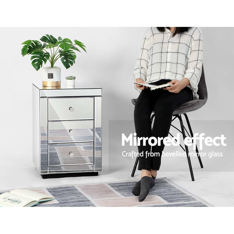 3 Drawer Mirrored Bedside Table-Presia Silver-58cm High-FREE SHIPPING