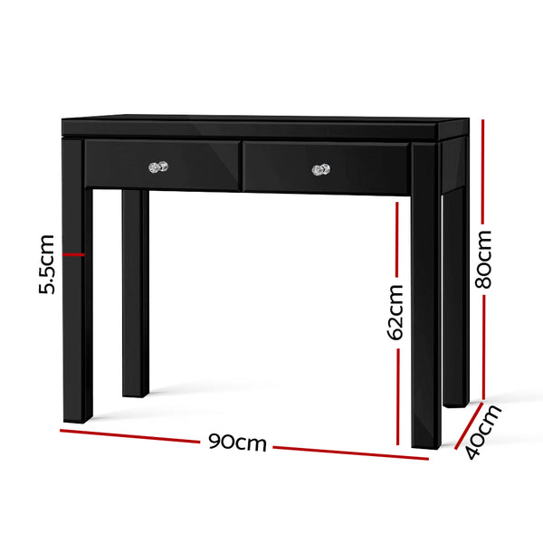 90CM Mirrored Console Table-2 Drawers-BLACK-FREE SHIPPING