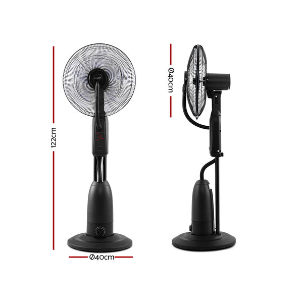 Pedestal Misting Fan-Cool Water Spray-Timer-Remote-5 Blades-Black-FREE SHIPPING