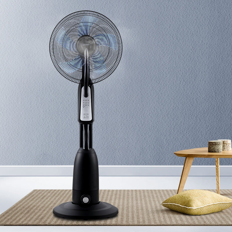 Pedestal Mist Fan-Cool Water Spray-Timer-Remote-5 Blades-Black and Silver-FREE SHIPPING