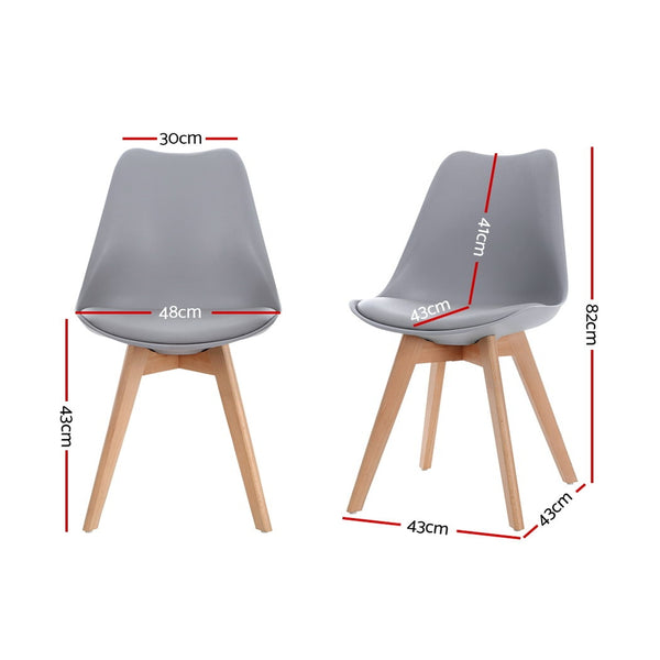 Set of 4 Retro Dining Chairs PU Faux Leather-Padded-Beech Wood Legs-Grey-FREE SHIPPING