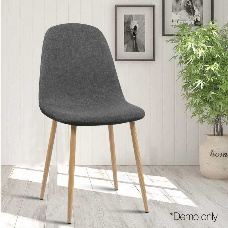 Set of 4 Adamas Fabric Dining Chairs-Dark Grey-FREE SHIPPING