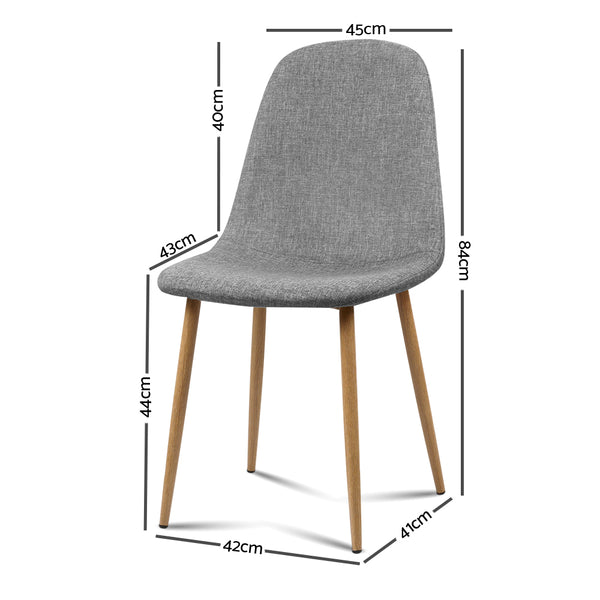 Set of 4 Adamas Fabric Dining Chairs-Light Grey-FREE SHIPPING