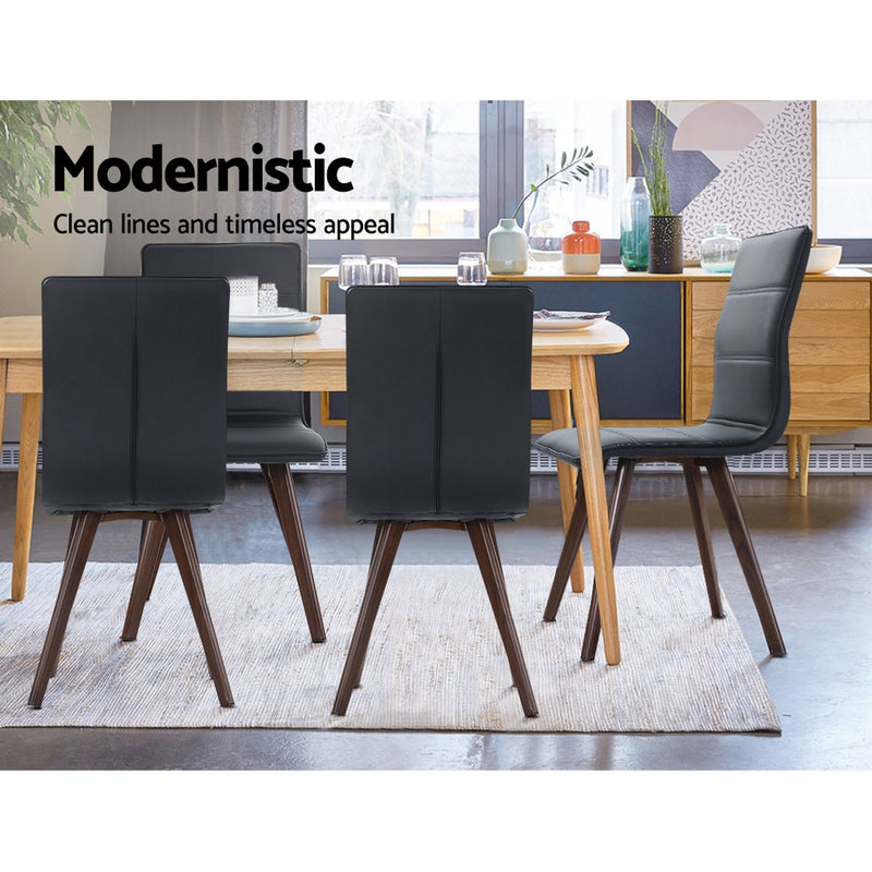 Set of 2 Dining Chairs-Retro-Metal Legs-High Back-PU Faux Leather-Black-FREE SHIPPING