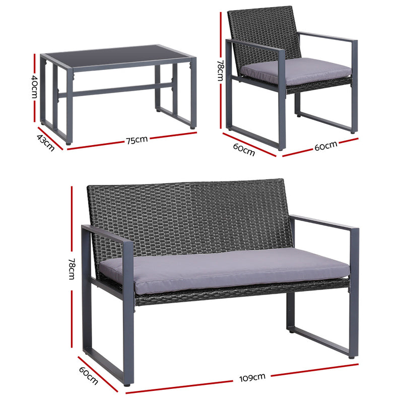 4 Piece Outdoor Patio Coffee Table and Chairs Set-Black-FREE SHIPPING
