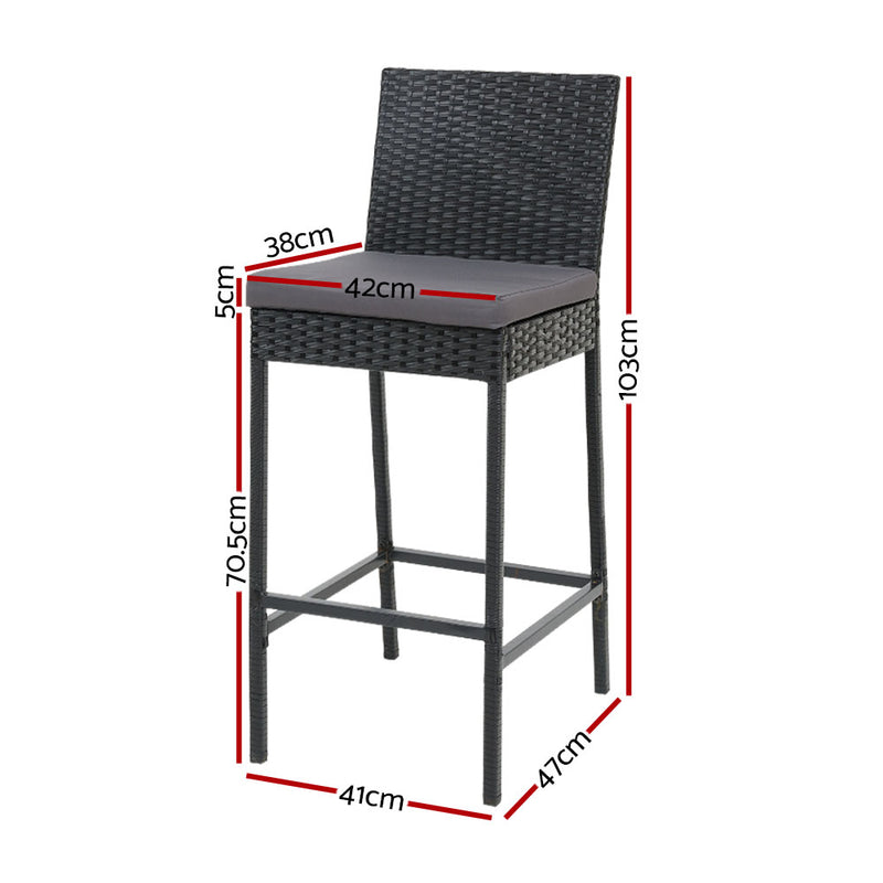 Set of 4 Outdoor Bar Stools-Rattan-FREE SHIPPING