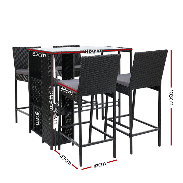 5 Piece Outdoor Bar Set-Wicker-FREE SHIPPING