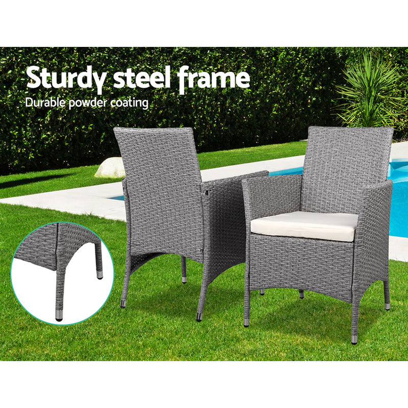 3 Piece Wicker Outdoor Chairs and Side Table Set-Grey-FREE SHIPPING