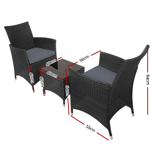 3 Piece Rattan Bistro Wicker Set-Black-FREE SHIPPING