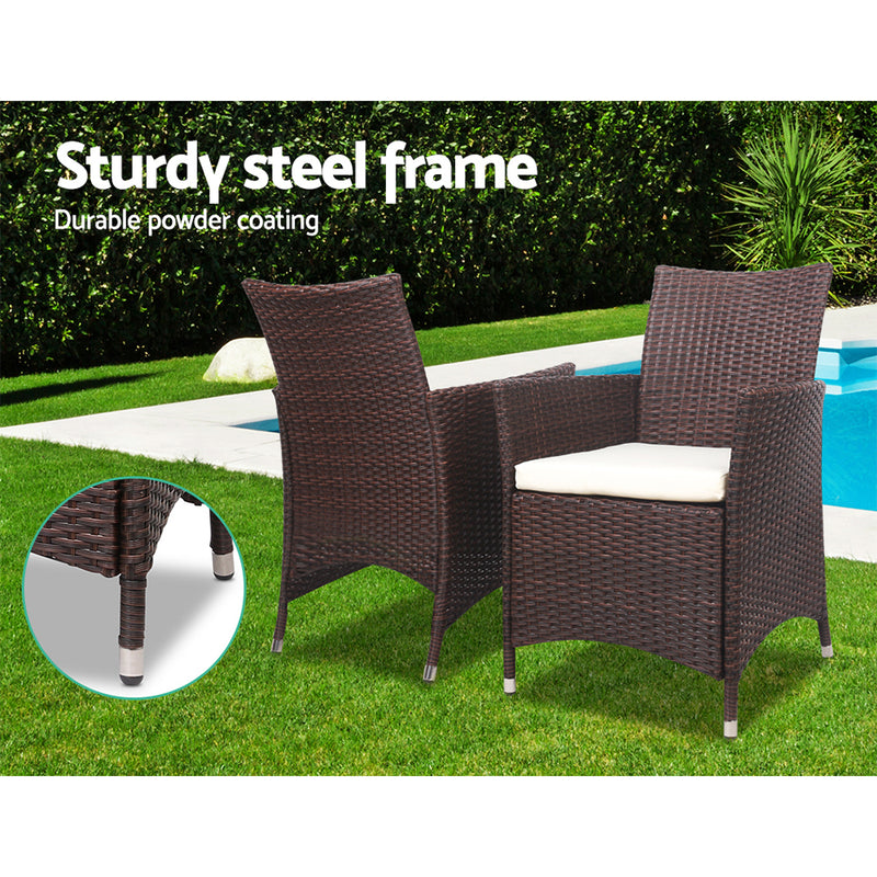3 Piece Rattan Bistro Wicker Outdoor Furniture Set-Brown-FREE SHIPPING