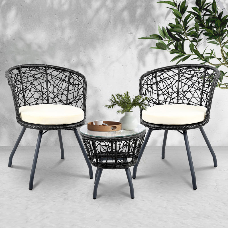 3 Piece Outdoor Patio Chairs and Table Set-Black-FREE SHIPPING