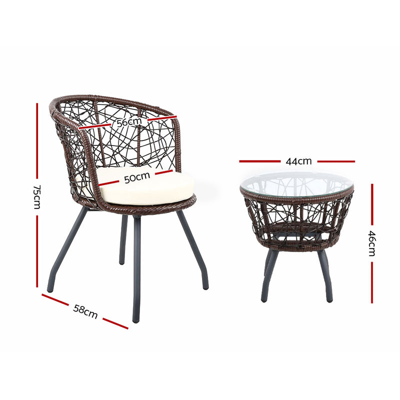 3 Piece Outdoor Patio Chairs and Table Set-Brown-FREE SHIPPING