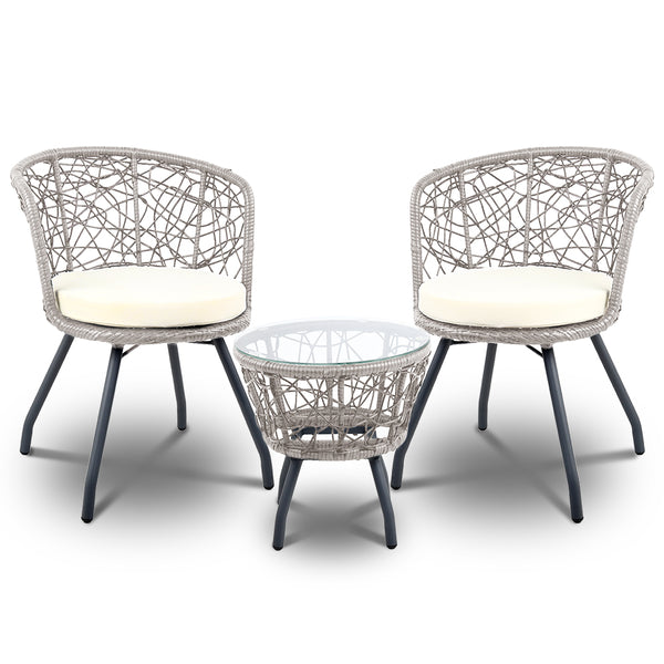 3 Piece Outdoor Patio Chairs and Table Set-Grey-FREE SHIPPING