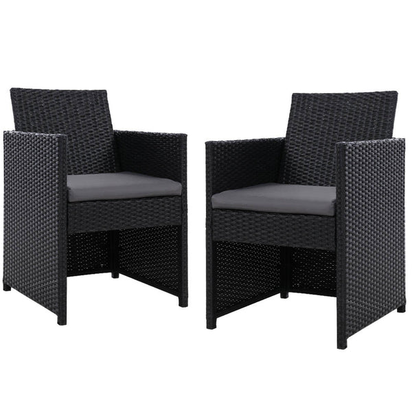 Set of 2 Outdoor Dining Chairs-Wicker-Black-Grey Cushion-FREE SHIPPING