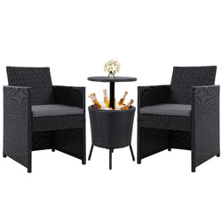 3 Piece Outdoor Wicker Chairs and Bar Table Set-Coffee Colour-FREE SHIPPING