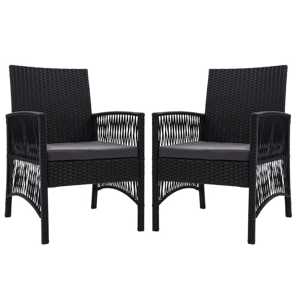 Set of 2 Outdoor Dining Chairs-Rattan-Black-FREE SHIPPING