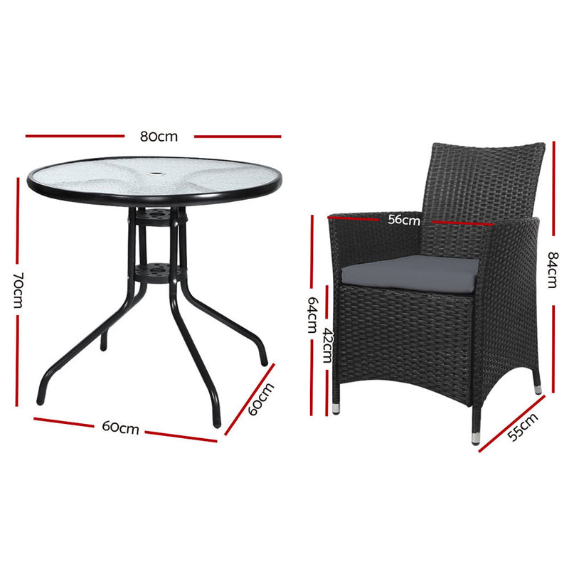3 Piece Outdoor Dining Chairs and Table Set-Wicker-FREE SHIPPING