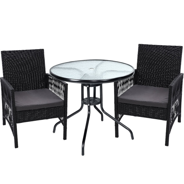 3 Piece Outdoor Dining Chairs and Table Set-Wicker-Black-Grey Cushion-FREE SHIPPING