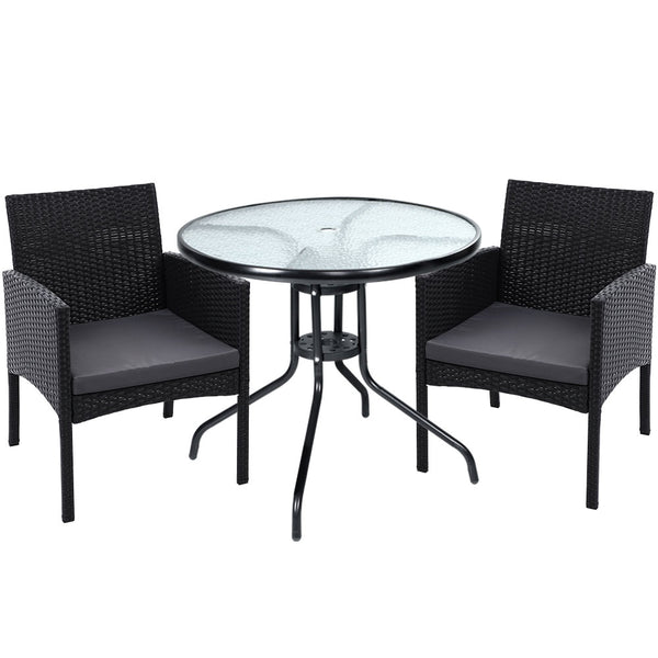 3 Piece Outdoor Bistro Chairs and Table Set-Wicker-FREE SHIPPING