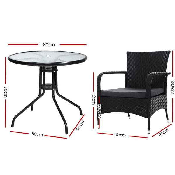 3 Piece Outdoor Dining Chairs and Bistro Table Set