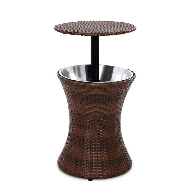 Outdoor Patio Cooler Ice Bucket-Rattan-Brown-FREE SHIPPING