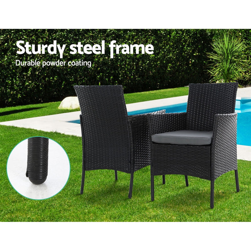5 Piece Wicker Dining Set-Black-FREE SHIPPING