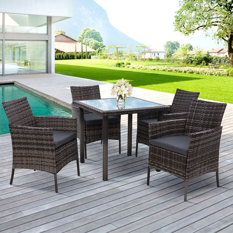 5 Piece Wicker Outdoor Dining Set-Mixed Grey-FREE SHIPPING