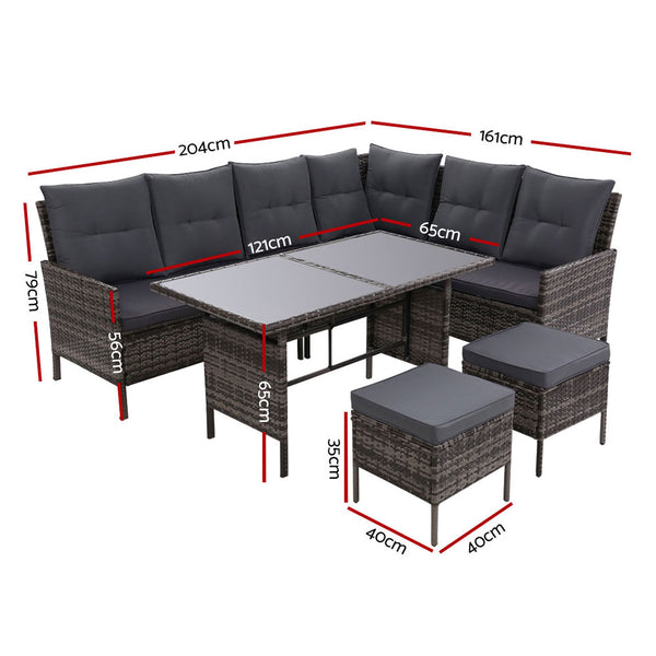 Wicker Outdoor Sofa Dining Set-Grey-FREE SHIPPING