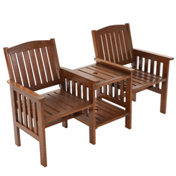 Garden Bench Chair and Table Loveseat-Brown-FREE SHIPPING