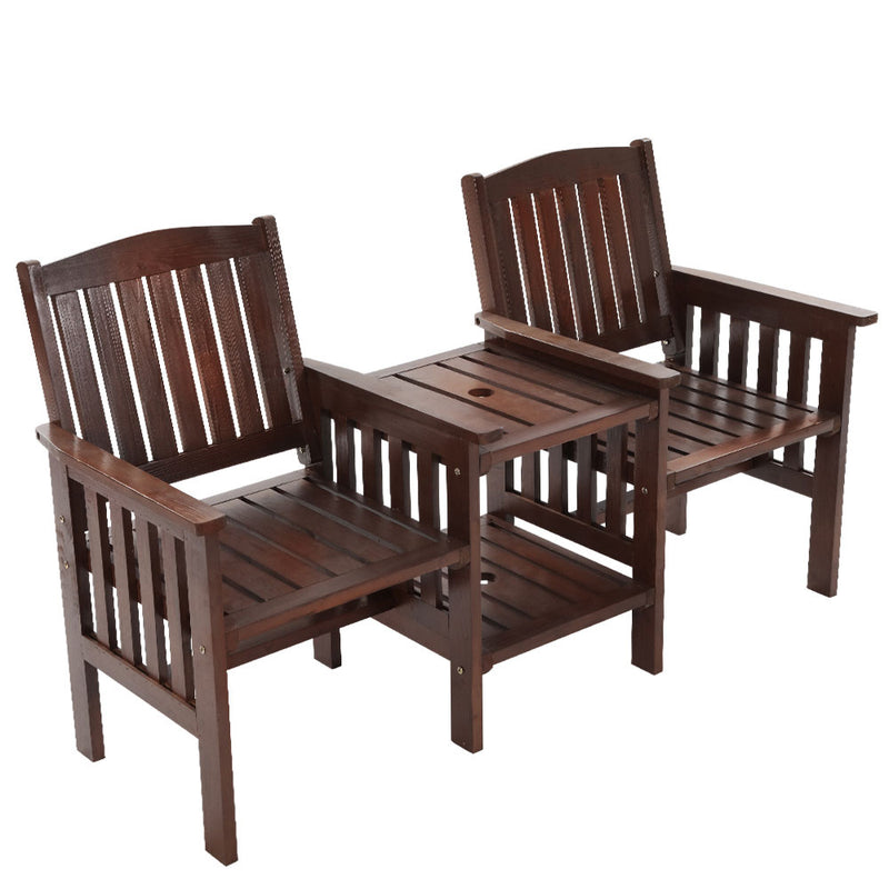 Garden Bench Chair and Table Loveseat-Charcoal-FREE SHIPPING