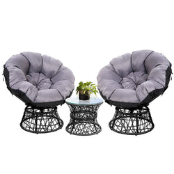 Gardeon Papasan Chair and Side Table Set- Black
