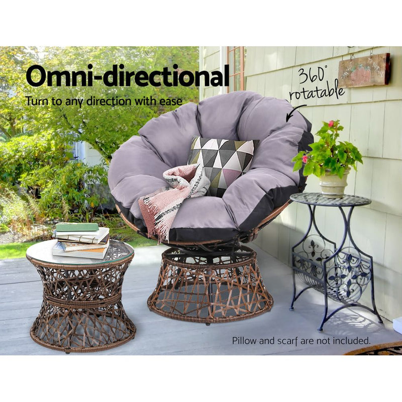 2 Papasan Chairs and Side Table Set-Brown-FREE SHIPPING