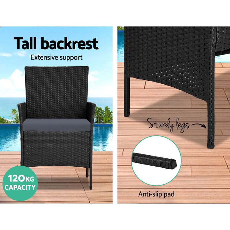 4 Piece Wicker Outdoor Set-Black-FREE SHIPPING