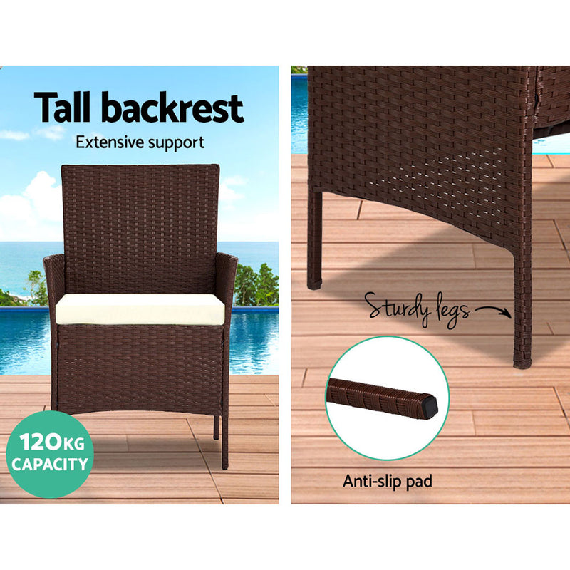 4 Piece Wicker Outdoor Set-Brown-FREE SHIPPING