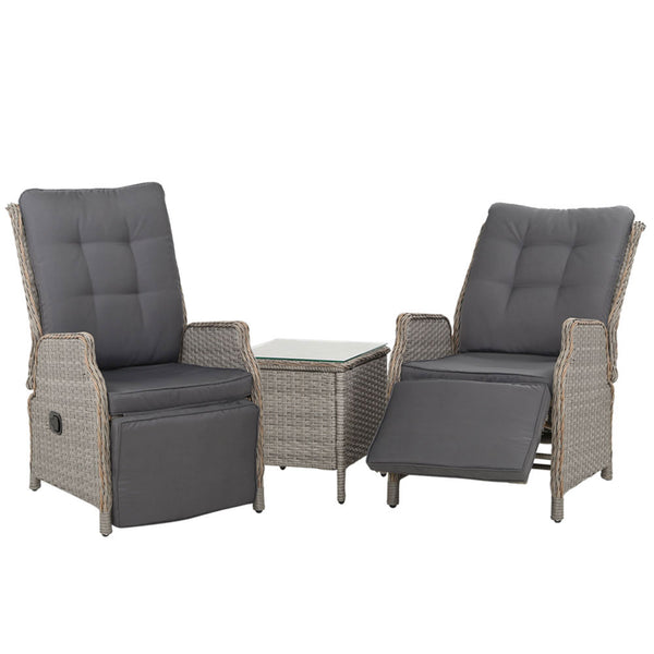 3 Piece Recliner Chairs and Table Set-Wicker-FREE SHIPPING