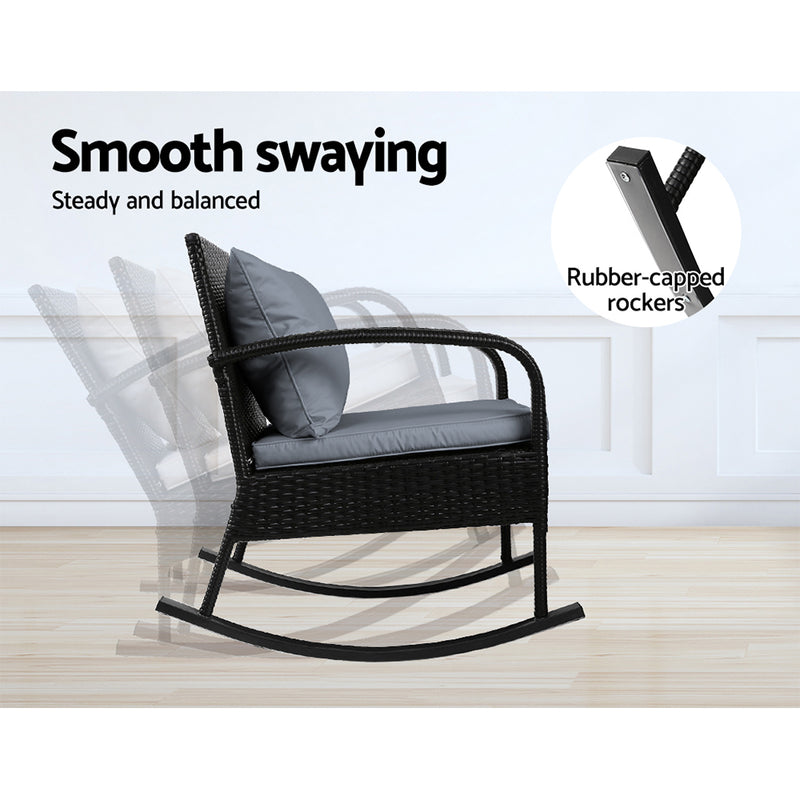 3 Piece Outdoor Chair Rocking Set-Black-FREE SHIPPING