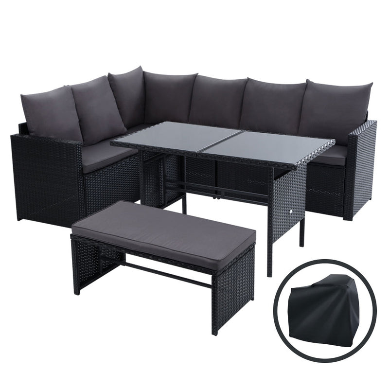 8 Seater Outdoor Dining Setting-Wicker-Storage Cover-Black-FREE SHIPPING