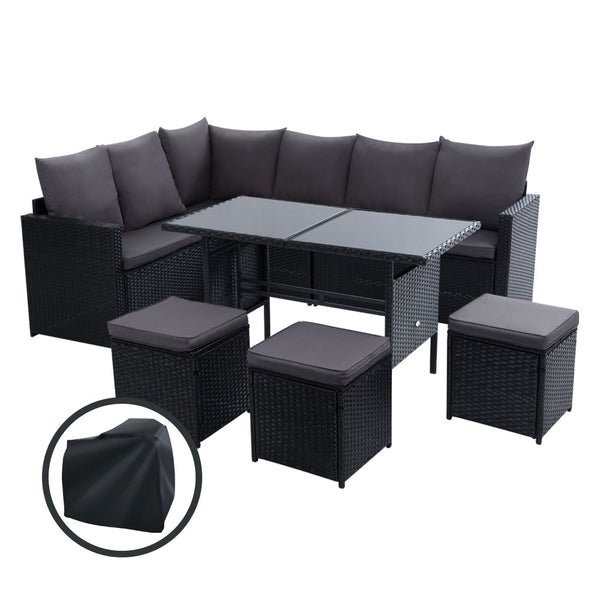 9 Seater Wicker Outdoor Dining Setting Sofa Set-Storage Cover-Black-FREE SHIPPING
