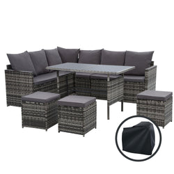 9 Seater Wicker Outdoor Dining Setting Sofa Set-Storage Cover-Mixed Grey-FREE SHIPPING