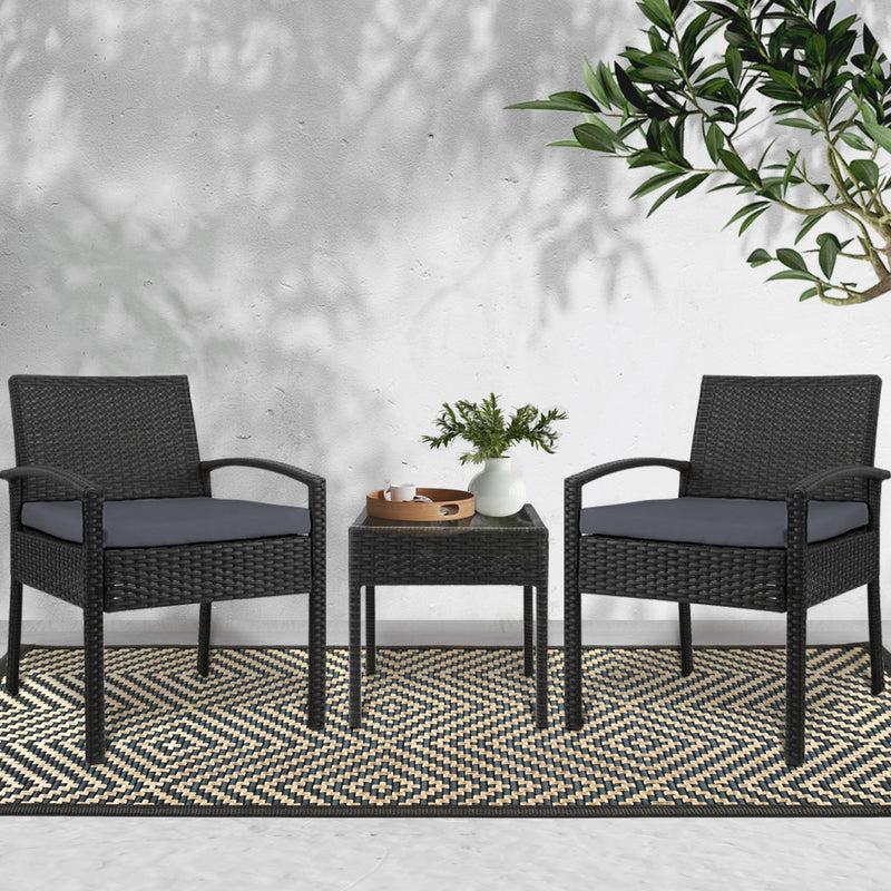 3 Piece Outdoor Set-Black-FREE SHIPPING