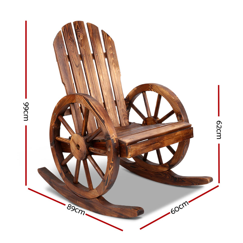 Wagon Wheels Rocking Chair-Brown-FREE SHIPPING
