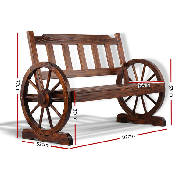 112cm Wooden Wagon Wheel Bench Seat-FREE SHIPPING