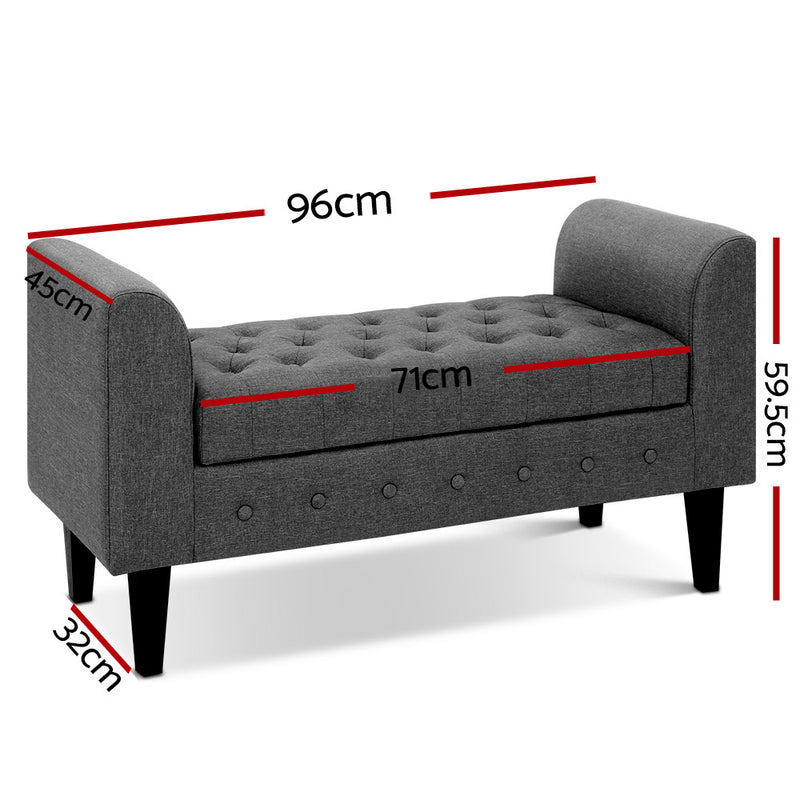 96cm Wide Fabric Ottoman-Grey-FREE SHIPPING