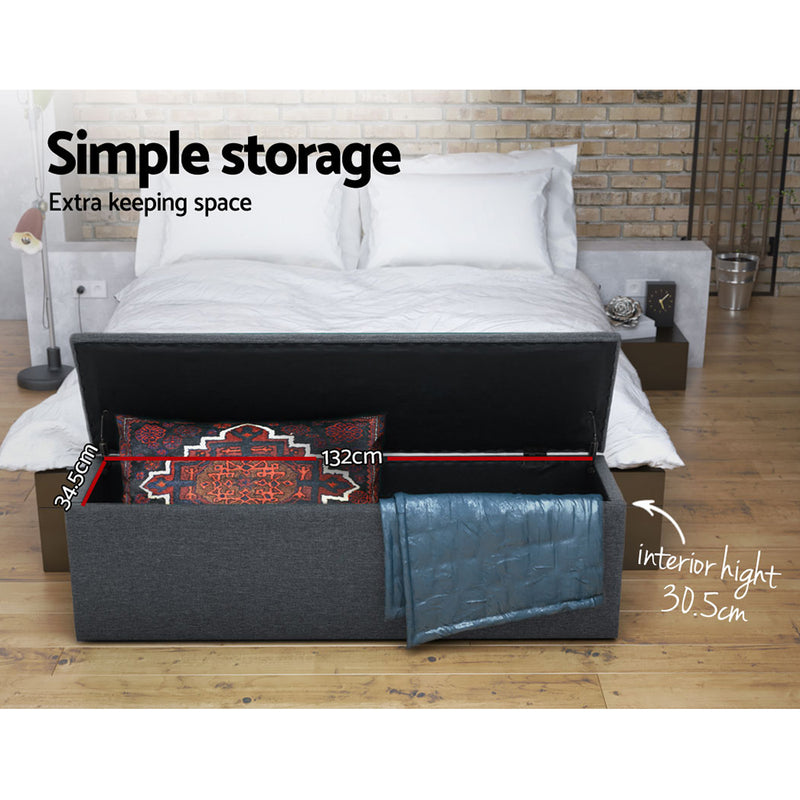 140cm Ottoman Blanket Box-Dark Grey Fabric-FREE SHIPPING