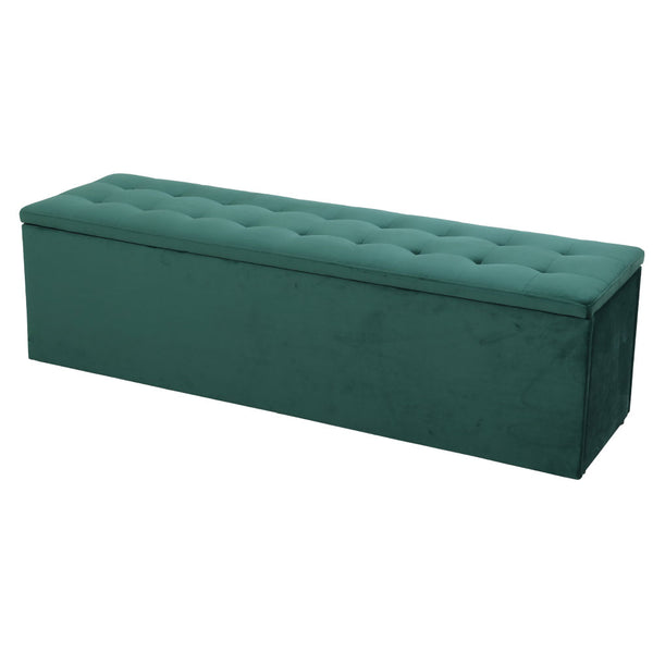 140cm Storage Ottoman Blanket Box-Velvet-Green-FREE SHIPPING