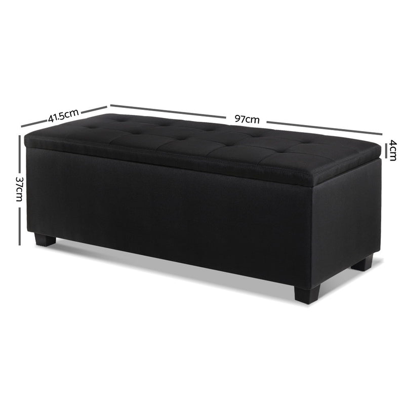 97cm Fabric Storage Ottoman-Black-FREE SHIPPING
